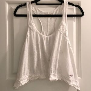 Hollister | White racerback cropped tank with lace